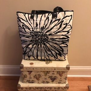 Brighton White and Black Canvas Flower Tote